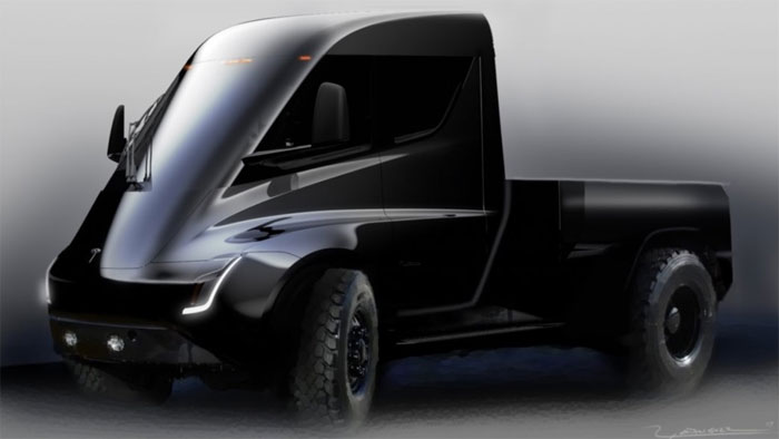 tesla pickup truck looks like a mini tesla semi. Black Bedroom Furniture Sets. Home Design Ideas